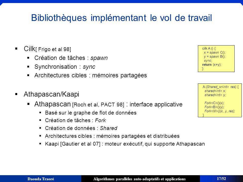 Algorithmes parallèles auto-adaptatifs et applicationsDaouda Traoré Cilk [ Frigo et al 98] Création de tâches : spawn Synchronisation : sync Architect