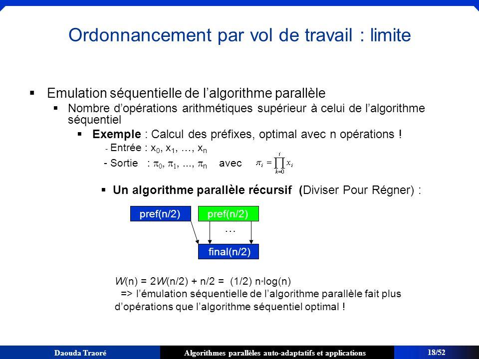 Algorithmes parallèles auto-adaptatifs et applicationsDaouda Traoré Emulation séquentielle de lalgorithme parallèle Nombre dopérations arithmétiques s