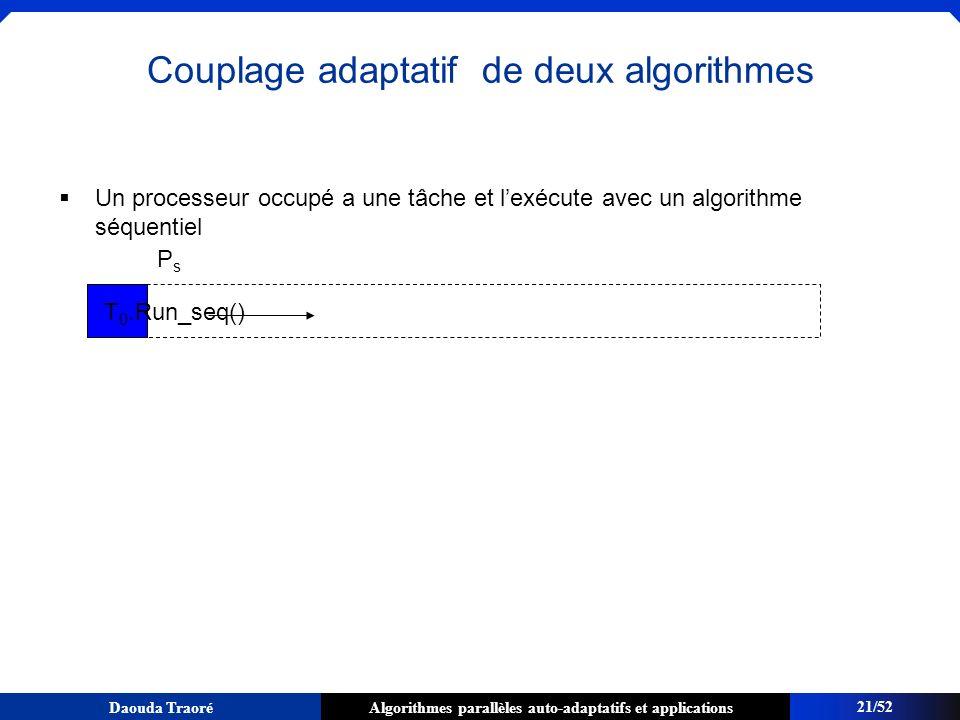 Algorithmes parallèles auto-adaptatifs et applicationsDaouda Traoré Un processeur occupé a une tâche et lexécute avec un algorithme séquentiel T 0.Run