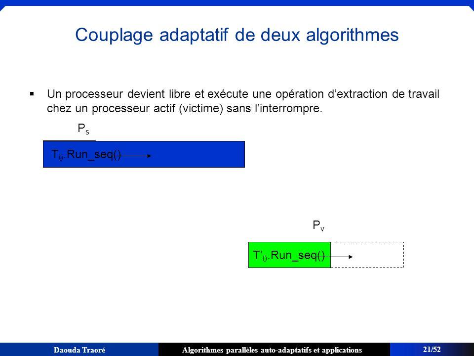 Algorithmes parallèles auto-adaptatifs et applicationsDaouda Traoré Un processeur devient libre et exécute une opération dextraction de travail chez u