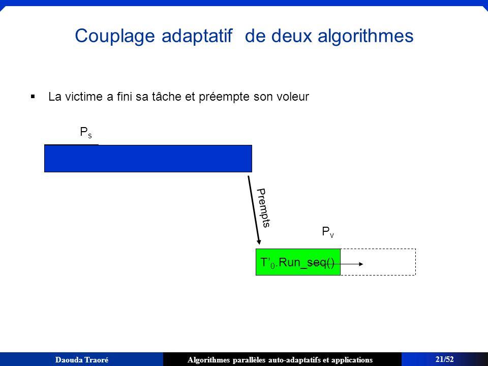 Algorithmes parallèles auto-adaptatifs et applicationsDaouda Traoré La victime a fini sa tâche et préempte son voleur PsPs 21/52 Couplage adaptatif de