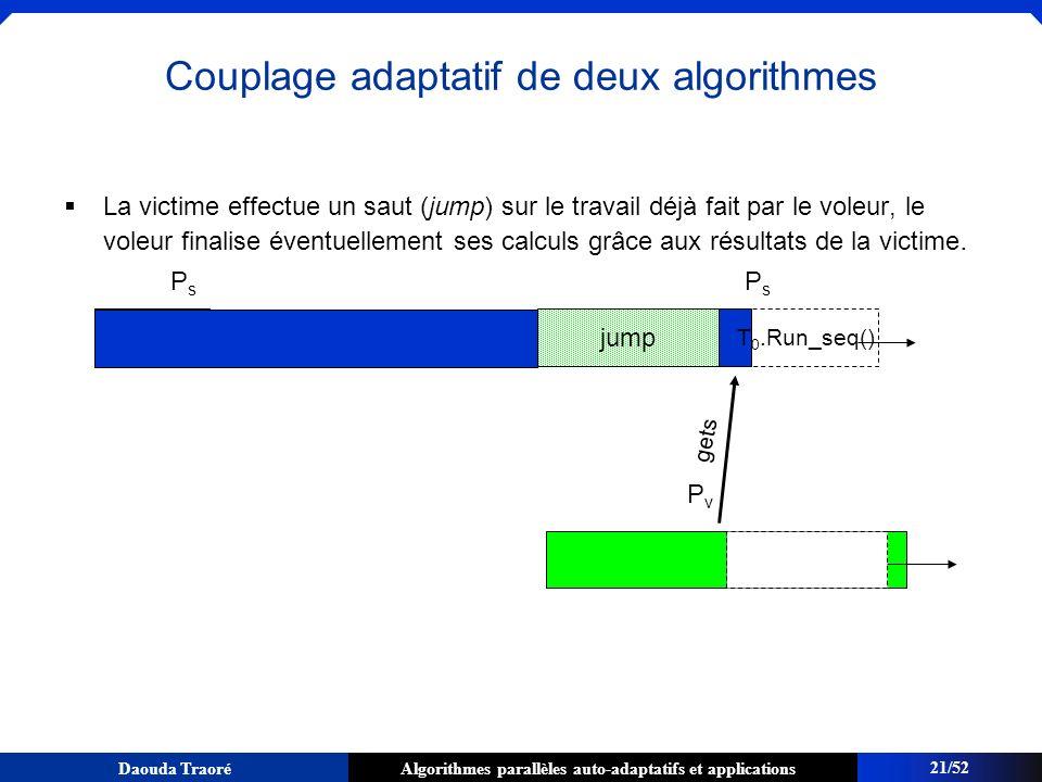 Algorithmes parallèles auto-adaptatifs et applicationsDaouda Traoré La victime effectue un saut (jump) sur le travail déjà fait par le voleur, le vole