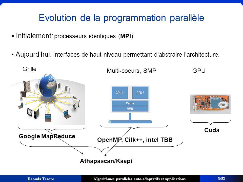 Algorithmes parallèles auto-adaptatifs et applicationsDaouda Traoré Construction dalgorithmes parallèles adaptatifs Sadaptent à la plate-forme dexécution -Inconscients du nombre de processeurs (en anglais, processor oblivious) -Adaptation à la charge de la plate-forme Avec des garanties defficacité -Temps dexécution si possible optimal p/r aux ressources (dynamiquement) allouées Contexte: LIG / EP INRIA Moais: Thème sur la conception dalgorithmes adaptatifs [Roch&al gzip2001, TSI2005,...] Master ROCO D.
