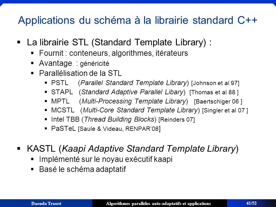 Algorithmes parallèles auto-adaptatifs et applicationsDaouda Traoré Applications du schéma à la librairie standard C++ La librairie STL (Standard Temp