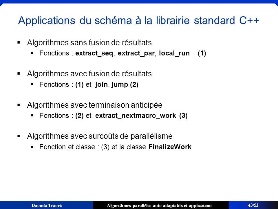 Algorithmes parallèles auto-adaptatifs et applicationsDaouda Traoré Applications du schéma à la librairie standard C++ Algorithmes sans fusion de résu