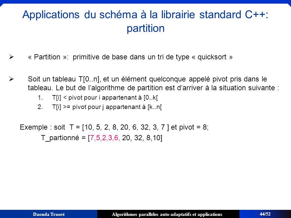 Algorithmes parallèles auto-adaptatifs et applicationsDaouda Traoré « Partition »: primitive de base dans un tri de type « quicksort » Soit un tableau
