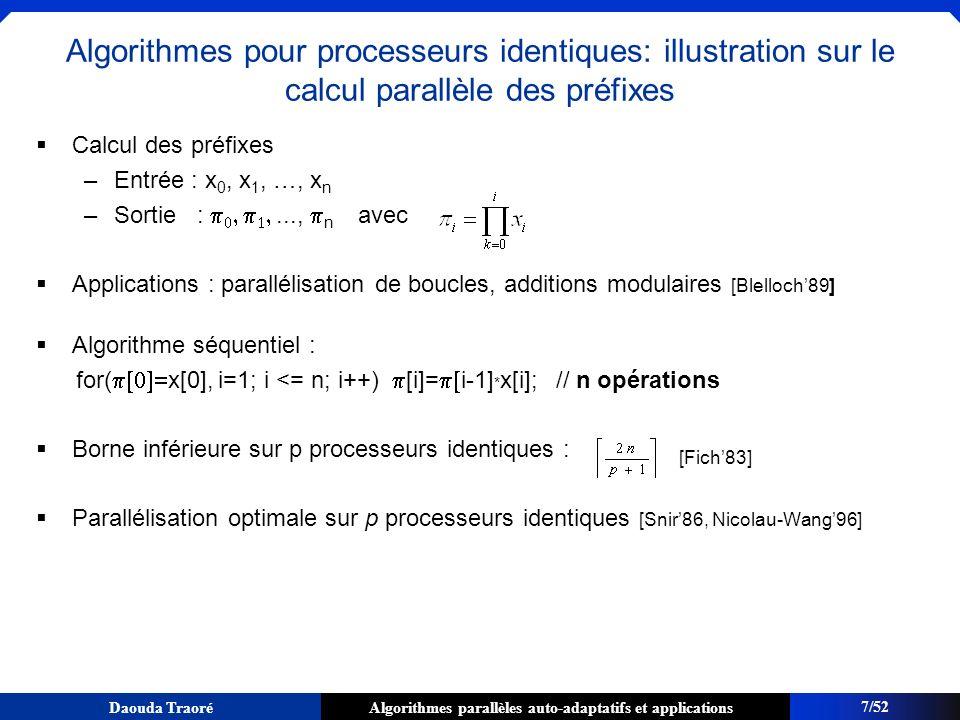 Algorithmes parallèles auto-adaptatifs et applicationsDaouda Traoré Schéma adaptatif : Amortissement du surcoût arithmétique Pour Certains dalgorithmes: – W seq nest pas connu davance – W > W seq Exemple: algorithme find_if qui permet de trouver le premier élément dune séquence vérifiant un predicat P0P0 P1P1 P 2 P3P3 position ou se trouve lélément Le temps final de lalgorithme parallèle est le temps final du processeur ayant terminé le dernier.