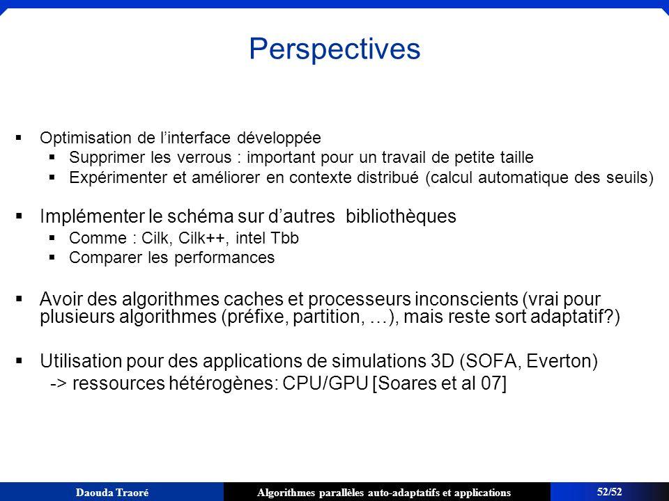 Algorithmes parallèles auto-adaptatifs et applicationsDaouda Traoré Perspectives Optimisation de linterface développée Supprimer les verrous : importa