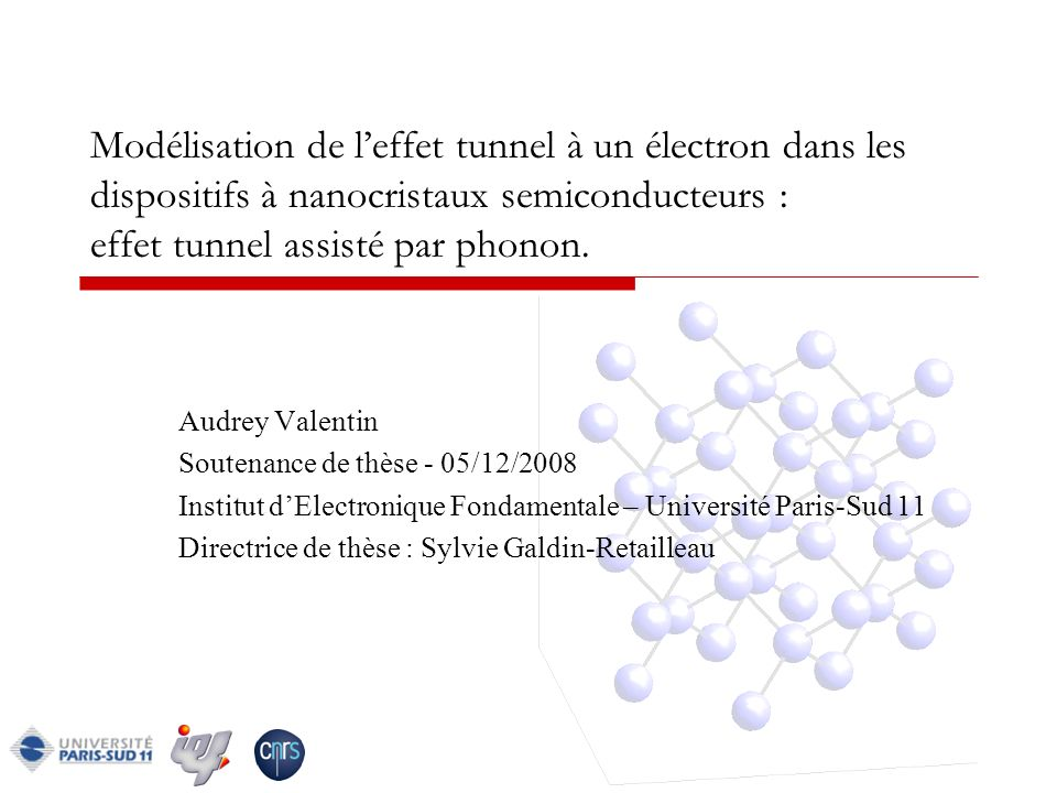 05/12/0842 Conclusion Poursuite de létude Sélection des phonons dans les nanocristaux Calcul des modes de phonons dans des nanocristaux de plus grandes tailles Modélisation dun transistor à un électron et comparaison des caractéristiques courant-tension avec des caractéristiques expérimentales.