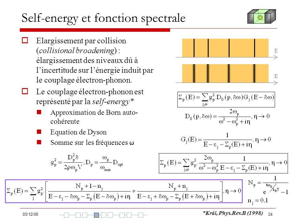 05/12/0824 Self-energy et fonction spectrale Elargissement par collision (collisional broadening) : élargissement des niveaux dû à lincertitude sur lé