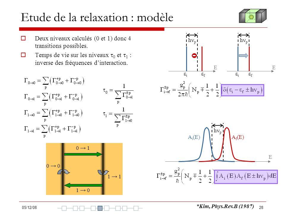 05/12/0828 Etude de la relaxation : modèle Deux niveaux calculés (0 et 1) donc 4 transitions possibles. Temps de vie sur les niveaux 0 et 1 : inverse