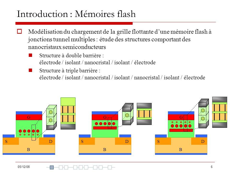 05/12/086 Introduction : Mémoires flash Modélisation du chargement de la grille flottante dune mémoire flash à jonctions tunnel multiples : étude des