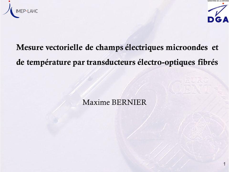 1 Mesure vectorielle de champs électriques microondes et de température par transducteurs électro-optiques fibrés Maxime BERNIER