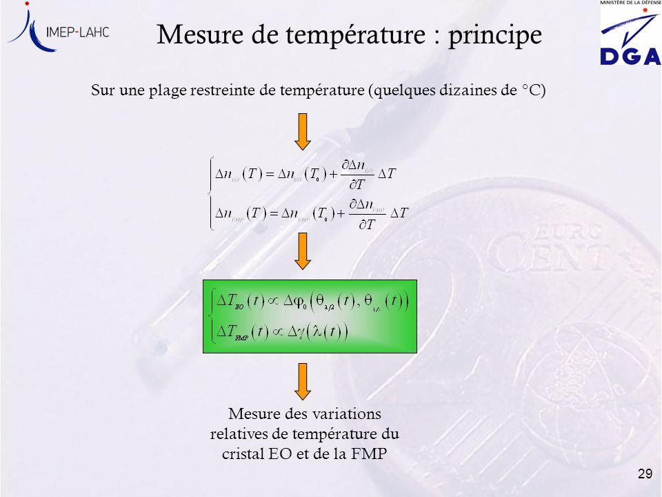 29 Mesure de température : principe Sur une plage restreinte de température (quelques dizaines de °C) Mesure des variations relatives de température d