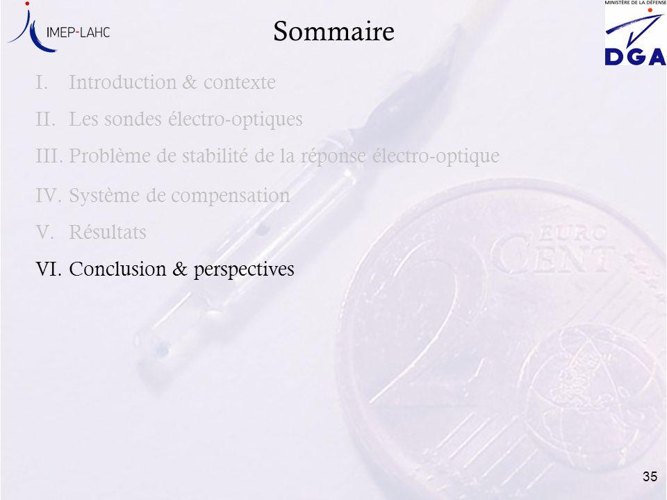35 Sommaire I.Introduction & contexte II.Les sondes électro-optiques III.Problème de stabilité de la réponse électro-optique IV.Système de compensatio