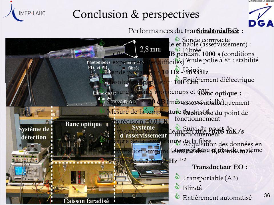 36 Conclusion & perspectives Sonde compacte Fibrée Férule polie à 8° : stabilité Usinée Entièrement diélectrique Sonde réalisée : Banc optique : asser