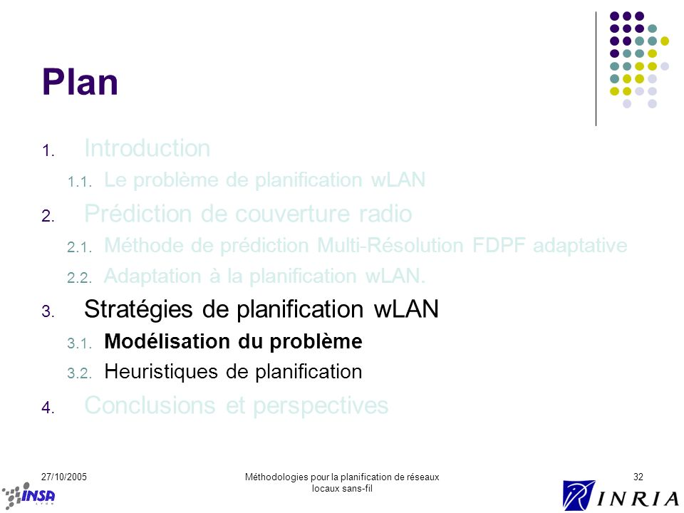 27/10/2005Méthodologies pour la planification de réseaux locaux sans-fil 32 Plan 1. Introduction 1.1. Le problème de planification wLAN 2. Prédiction