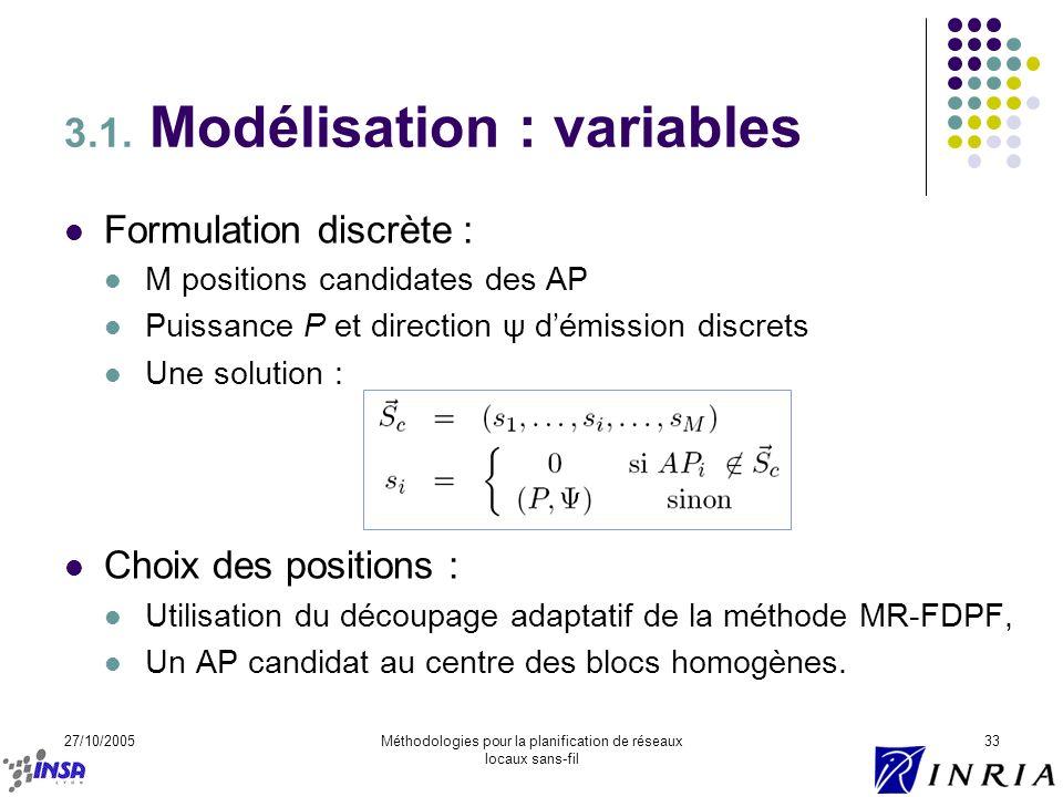 27/10/2005Méthodologies pour la planification de réseaux locaux sans-fil 33 3.1. Modélisation : variables Formulation discrète : M positions candidate