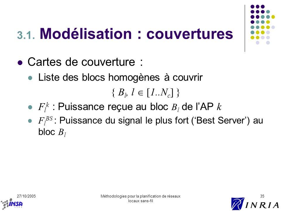 27/10/2005Méthodologies pour la planification de réseaux locaux sans-fil 35 3.1. Modélisation : couvertures Cartes de couverture : Liste des blocs hom