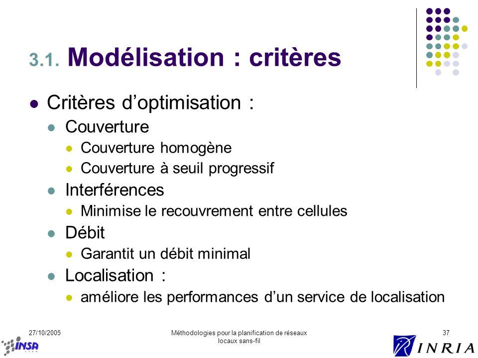 27/10/2005Méthodologies pour la planification de réseaux locaux sans-fil 37 3.1. Modélisation : critères Critères doptimisation : Couverture Couvertur