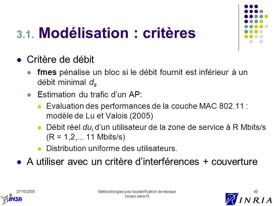 27/10/2005Méthodologies pour la planification de réseaux locaux sans-fil 40 3.1. Modélisation : critères Critère de débit fmes pénalise un bloc si le