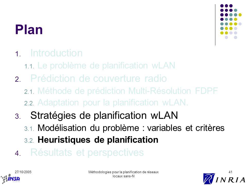 27/10/2005Méthodologies pour la planification de réseaux locaux sans-fil 41 Plan 1. Introduction 1.1. Le problème de planification wLAN 2. Prédiction