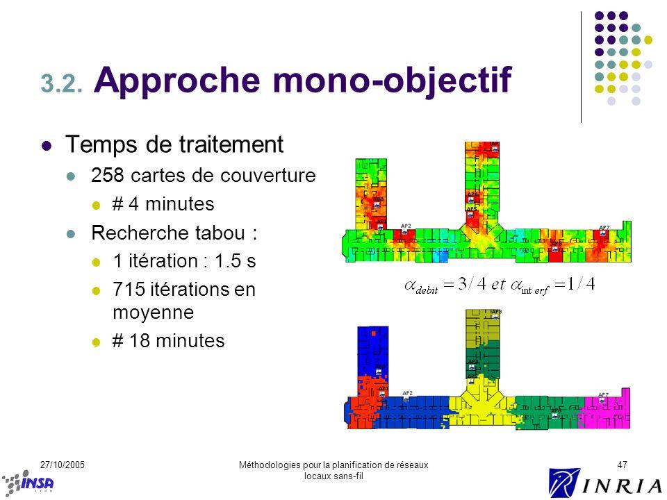 27/10/2005Méthodologies pour la planification de réseaux locaux sans-fil 47 3.2. Approche mono-objectif Temps de traitement 258 cartes de couverture #