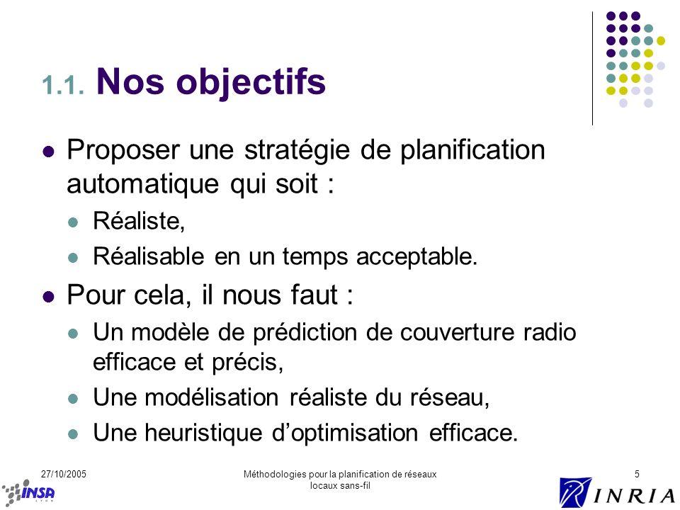 27/10/2005Méthodologies pour la planification de réseaux locaux sans-fil 5 1.1. Nos objectifs Proposer une stratégie de planification automatique qui
