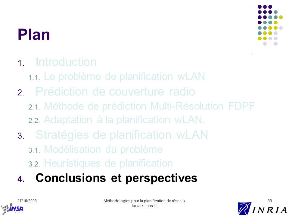 27/10/2005Méthodologies pour la planification de réseaux locaux sans-fil 55 Plan 1. Introduction 1.1. Le problème de planification wLAN 2. Prédiction