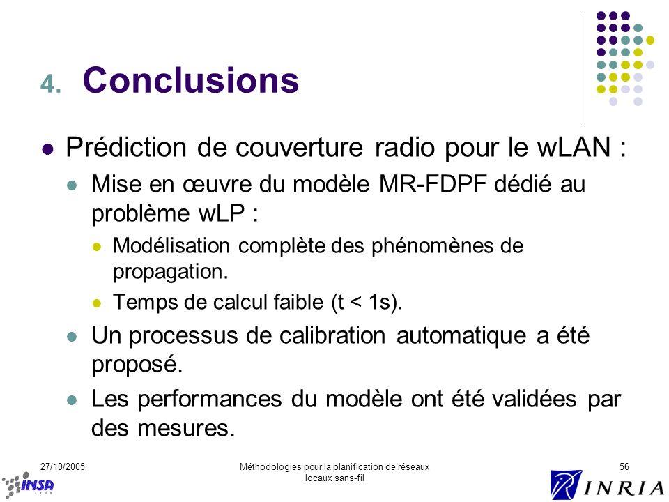 27/10/2005Méthodologies pour la planification de réseaux locaux sans-fil 56 4. Conclusions Prédiction de couverture radio pour le wLAN : Mise en œuvre