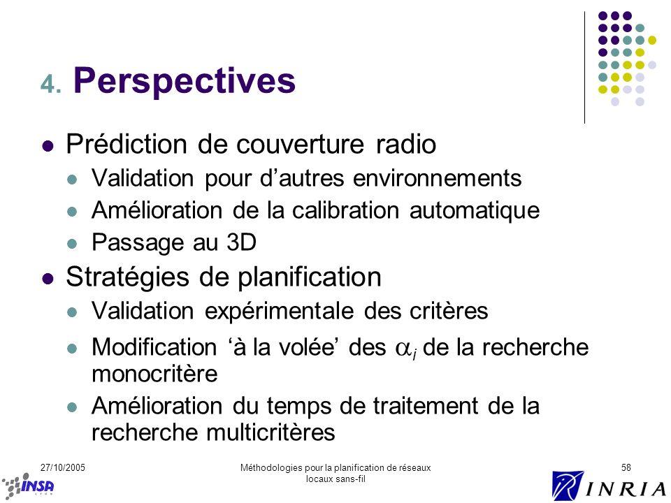 27/10/2005Méthodologies pour la planification de réseaux locaux sans-fil 58 4. Perspectives Prédiction de couverture radio Validation pour dautres env
