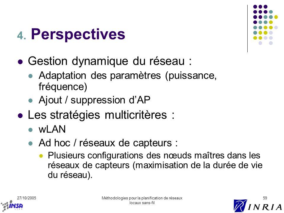 27/10/2005Méthodologies pour la planification de réseaux locaux sans-fil 59 4. Perspectives Gestion dynamique du réseau : Adaptation des paramètres (p