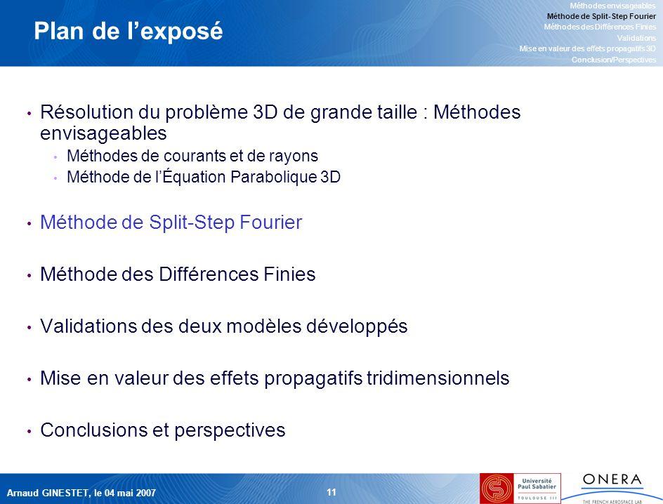 Arnaud GINESTET, le 04 mai 2007 11 Plan de lexposé Résolution du problème 3D de grande taille : Méthodes envisageables Méthodes de courants et de rayons Méthode de lÉquation Parabolique 3D Méthode de Split-Step Fourier Méthode des Différences Finies Validations des deux modèles développés Mise en valeur des effets propagatifs tridimensionnels Conclusions et perspectives Méthodes envisageables Méthode de Split-Step Fourier Méthodes des Différences Finies Validations Mise en valeur des effets propagatifs 3D Conclusion/Perspectives