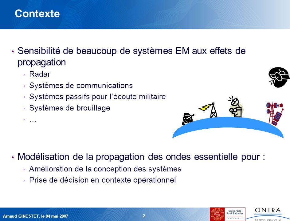 Arnaud GINESTET, le 04 mai 2007 2 Contexte Sensibilité de beaucoup de systèmes EM aux effets de propagation Radar Systèmes de communications Systèmes passifs pour lécoute militaire Systèmes de brouillage … Modélisation de la propagation des ondes essentielle pour : Amélioration de la conception des systèmes Prise de décision en contexte opérationnel