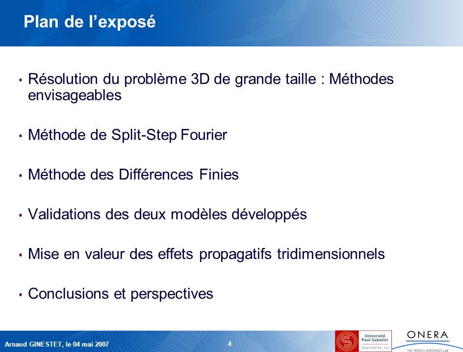 Arnaud GINESTET, le 04 mai 2007 4 Plan de lexposé Résolution du problème 3D de grande taille : Méthodes envisageables Méthode de Split-Step Fourier Méthode des Différences Finies Validations des deux modèles développés Mise en valeur des effets propagatifs tridimensionnels Conclusions et perspectives