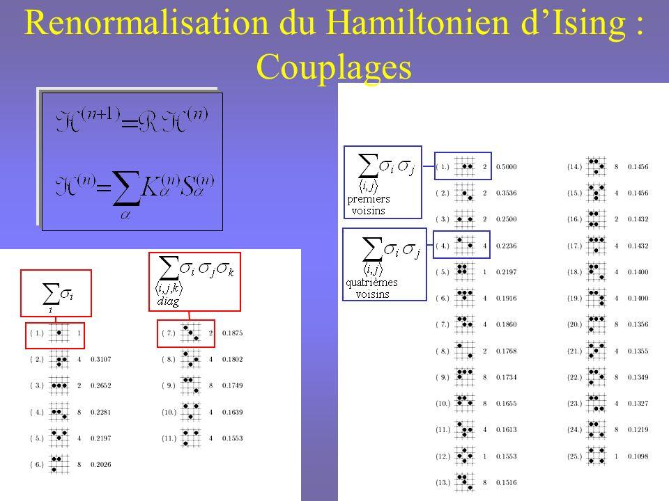 Renormalisation Monte-Carlo Flot Linéarisation du Flot Calcul de la matrice [ T (n) ] Calcul des deux plus grandes valeurs propres t (n) et h (n) de [ T (n) ] dans chaque sous espace