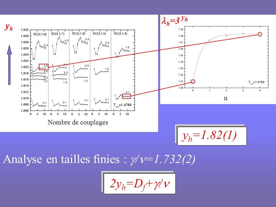 Corrections déchelle Ecarts aux lois de puissances L x (1+aL +…) Dépendantes de la grandeur physique et de D f Dépendantes de la topologie du fractal Importantes lorsque D f décroît de 2 vers 1 Peu importantes pour 2.5 < D f < 3 Sans effet sur max (L) Valeur précise de Liées à la convergence à la limite thermodynamique Relation dhyperscaling Satisfaite avec la dimension de Hausdorff