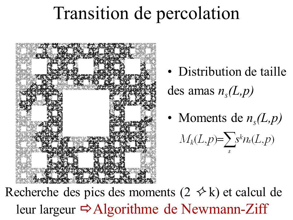 Maxima des moments M k max (L)~L - y k / y k / D f - kD fp ) D fp =1.828 pour SC a (3 2,8) D fp =1.766 pour SC a (4 2,12) SC a (3 2,8) M 2 max M k (L,p)=l -y k / M k (L/l,p * ) p -p c k (L)= l -1/ (p *- p c k (L/l)) Largeurs des pics p k (L) ~L -1 / 2