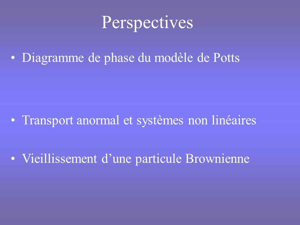 Perspectives Diagramme de phase du modèle de Potts Transport anormal et systèmes non linéaires Vieillissement dune particule Brownienne