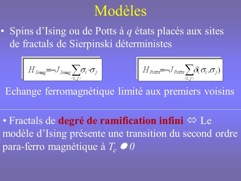 Renormalisation dans lespace direct Symétrie déchelle discrète Tailles simulées : L=l k Structure de la cellule génératrice présente à tous les ordres de grandeur Fluctuations géométriques multi-échelles fonctions de corrélation à deux points spin-spin dépendantes de la position Construction de la structure fractale