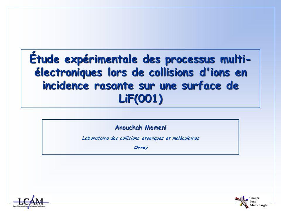 Étude expérimentale des processus multi- électroniques lors de collisions d'ions en incidence rasante sur une surface de LiF(001) Anouchah Momeni Labo