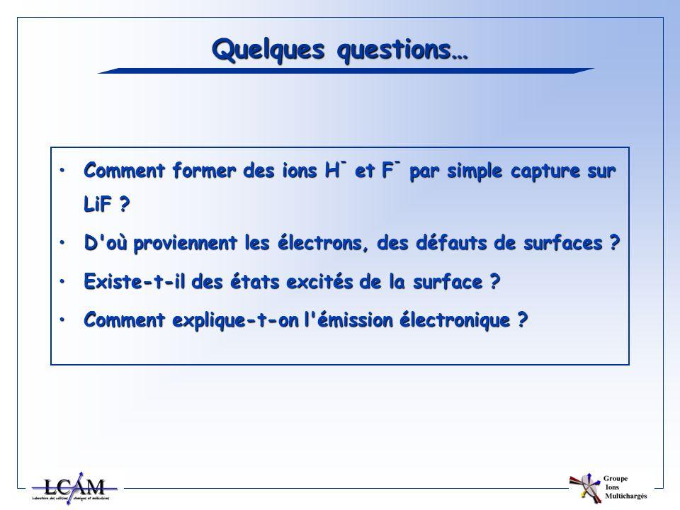Quelques questions… Comment former des ions H - et F - par simple capture sur LiF ?Comment former des ions H - et F - par simple capture sur LiF ? D'o