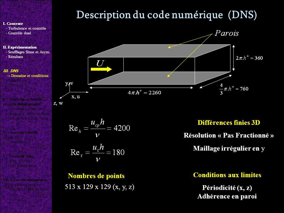 Description du code numérique (DNS) Différences finies 3D Résolution « Pas Fractionné » Maillage irrégulier en y Conditions aux limites Périodicité (x, z) Adhérence en paroi y, v x, u z, w Nombres de points 513 x 129 x 129 (x, y, z) I.