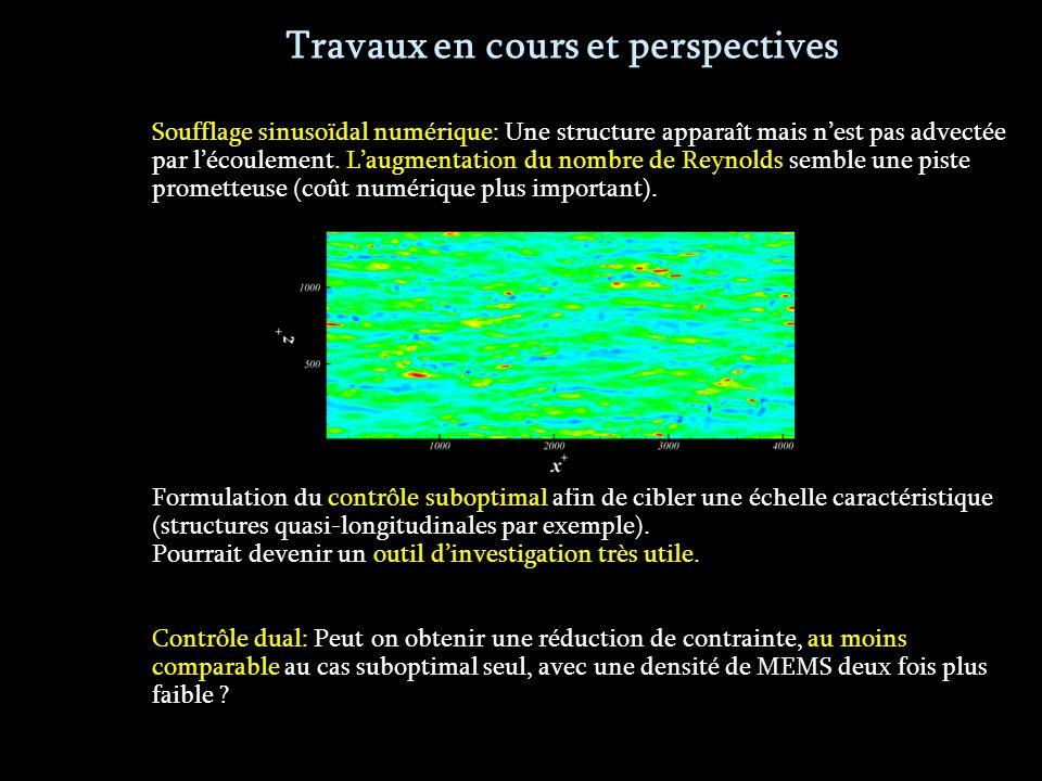 Soufflage sinusoïdal numérique: Une structure apparaît mais nest pas advectée par lécoulement.