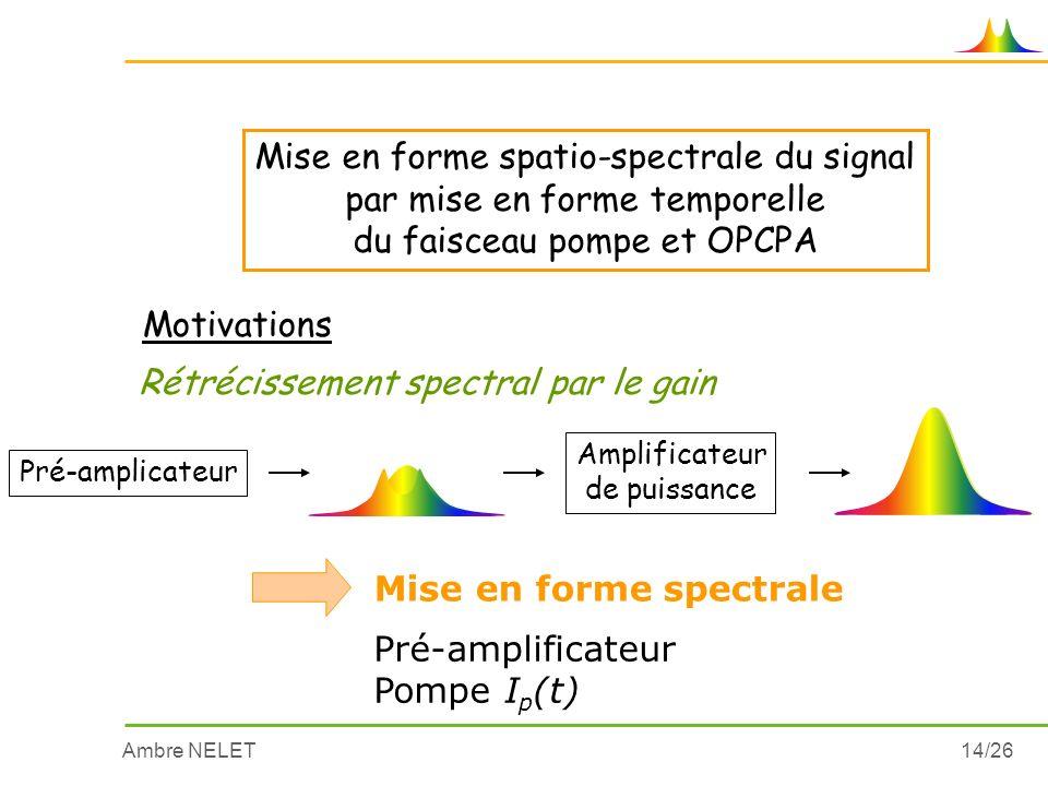 Ambre NELET14/26 Mise en forme spatio-spectrale du signal par mise en forme temporelle du faisceau pompe et OPCPA Motivations Rétrécissement spectral