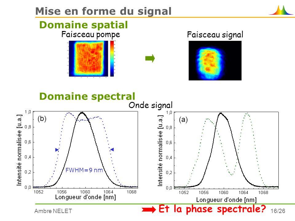 Ambre NELET16/26 Mise en forme du signal Domaine spatial Faisceau pompe Faisceau signal (b) FWHM=9 nm (a) Domaine spectral Et la phase spectrale? Onde