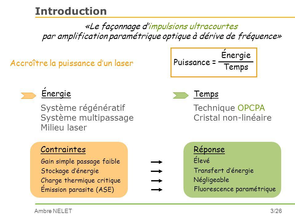 Ambre NELET3/26 Introduction Accroître la puissance dun laser «Le façonnage dimpulsions ultracourtes par amplification paramétrique optique à dérive d