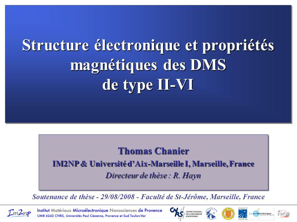 Plan de la présentation Introduction I.Propriétés magnétiques des DMS de type II-VI dopés Co et Mn II.Modèle de la structure électronique des DMS III.Estimation des températures de Curie dans les DMS de type p IV.Etat magnétique autour des lacunes isolées neutres dans les SC II-VI Conclusion Introduction I.Propriétés magnétiques des DMS de type II-VI dopés Co et Mn II.Modèle de la structure électronique des DMS III.Estimation des températures de Curie dans les DMS de type p IV.Etat magnétique autour des lacunes isolées neutres dans les SC II-VI Conclusion
