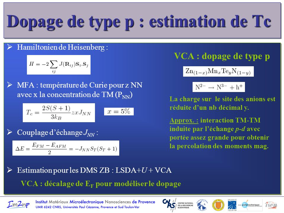 Dopage de type p : estimation de Tc Hamiltonien de Heisenberg : MFA : température de Curie pour z NN avec x la concentration de TM (P NN ) Couplage dé
