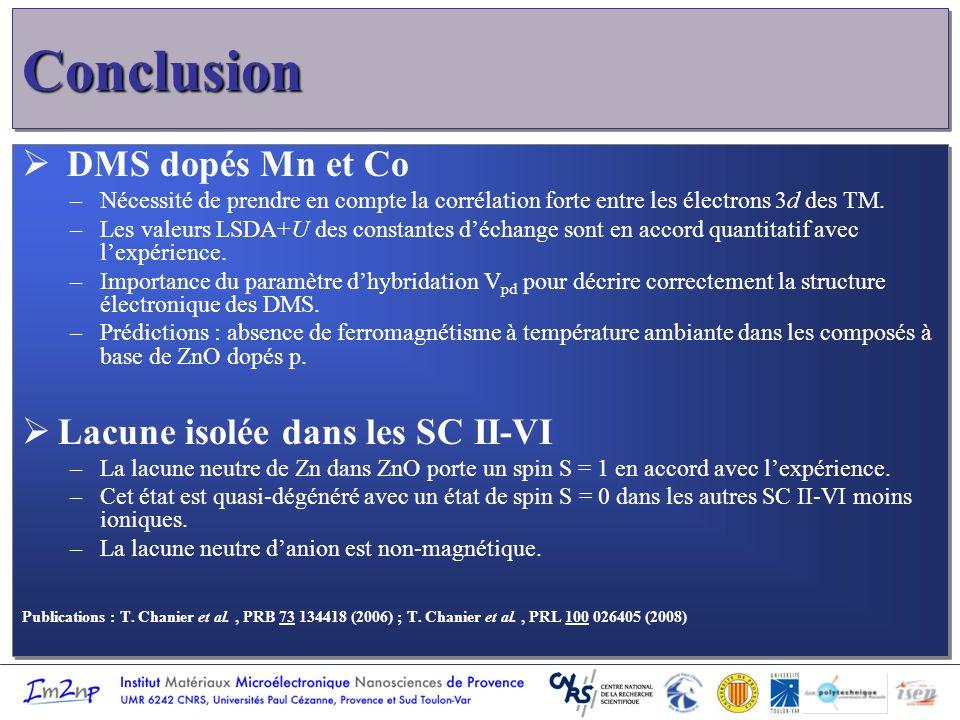 ConclusionConclusion DMS dopés Mn et Co –Nécessité de prendre en compte la corrélation forte entre les électrons 3d des TM. –Les valeurs LSDA+U des co